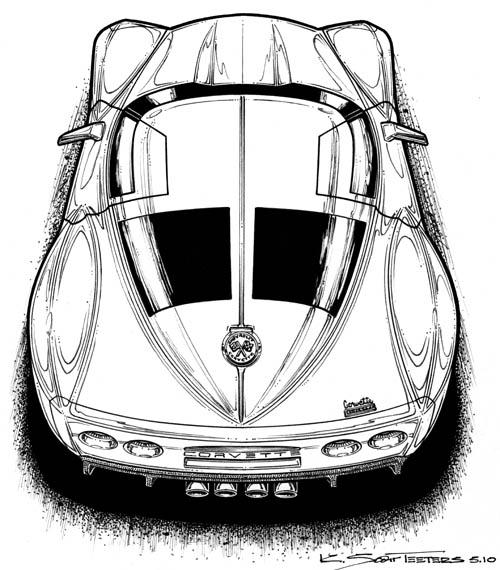topviewC7 Concept corvette art by K. Scott Teeters