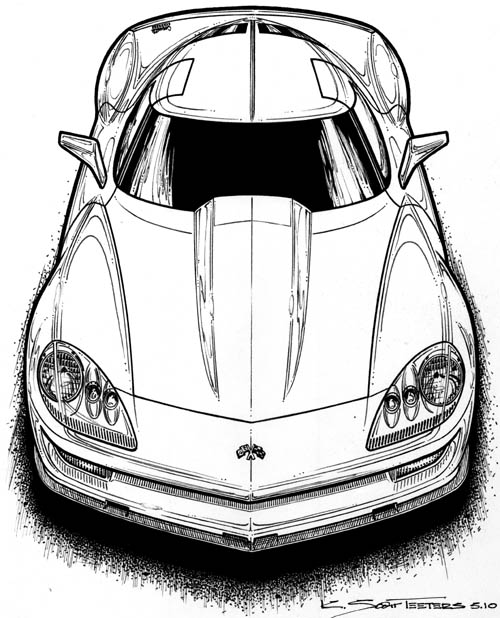 topviewfrontC7 Corvette concept art by K. Scott Teeters