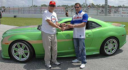 "The original Mr. Motion and the new Mr. Motion. Rosen takes delivery of the very first ""new"" Baldwin Motion Camaro from Haward Tanner."