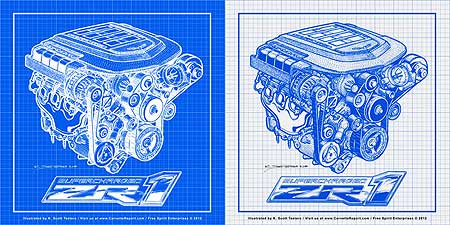 New famous corvette engines blueprint prints series to malvernweather Gallery
