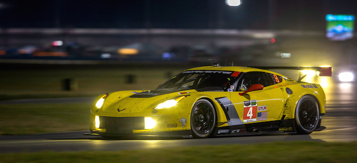 The #4 Corvette C7.R, driven by Oliver Gavin, Tommy Milner and Robin Liddell races to a fifth-place finish in the GT Le Mans class Sunday, January 26, 2014 during the Rolex 24 At Daytona in Daytona Beach Florida. The team experienced a problem with the car's gearbox while running in second-place with less than three hours to go in the 24-hour opening race of the new TUDOR United SportsCar Championship. (Photo by Richard Prince for Corvette Racing)