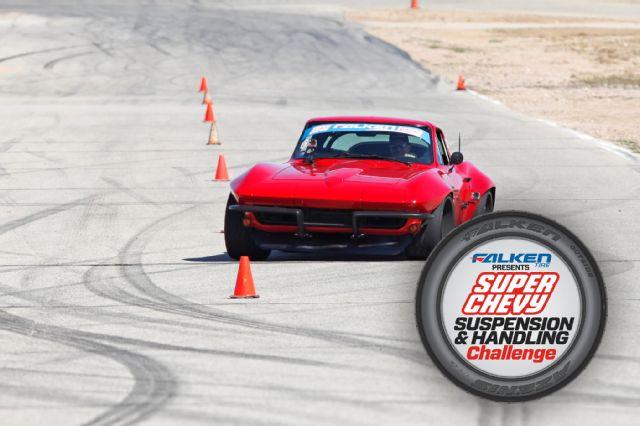 brian-hobaugh-1965-corvette-red-falken-rt615k-super-chevy-suspension-challenge-cones